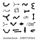 vector set of hand drawn arrows ...   Shutterstock .eps vector #1989719564