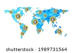polygonal blue world map with... | Shutterstock .eps vector #1989731564