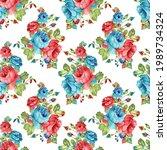seamless watercolor flower...   Shutterstock .eps vector #1989734324