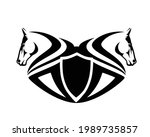 two horse heads and heraldic...   Shutterstock .eps vector #1989735857