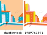 cartoon vector buildings... | Shutterstock .eps vector #1989761591