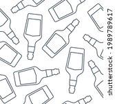 whiskey bottles seamless...   Shutterstock .eps vector #1989789617
