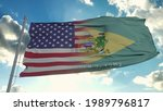 Flag of USA and Delaware state. USA and Delaware Mixed Flag waving in wind. 3d rendering.