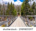 A Wooden Bridge On The Mountain ...