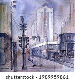 watercolor drawing landscape of ...   Shutterstock . vector #1989959861