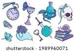 drawing set of magic symbols ...   Shutterstock . vector #1989960071