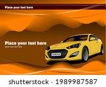 yellow  sedan car on the road.... | Shutterstock .eps vector #1989987587