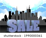 3d sale image on city panorama... | Shutterstock . vector #1990000361