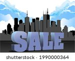 3d sale image on city panorama... | Shutterstock .eps vector #1990000364