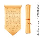egyptian papyrus. ancient egypt ... | Shutterstock .eps vector #1990009571