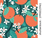 vector fruit seamless pattern...   Shutterstock .eps vector #1990015961