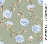 all over blue vector flowers...   Shutterstock .eps vector #1990050044