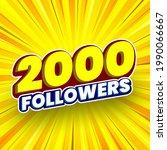 2000 followers banner. vector...   Shutterstock .eps vector #1990066667