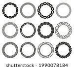 celtic braid frames. rounded... | Shutterstock .eps vector #1990078184