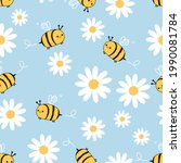 seamless pattern with bee...   Shutterstock .eps vector #1990081784