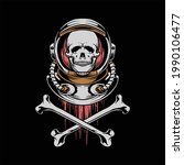 skull astronaut illustration... | Shutterstock .eps vector #1990106477