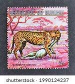 Small photo of Burundi - circa 1975 : Cancelled postage stamp printed by Burundi, that shows Cheetah (Acinonyx jubatus), circa 1975.
