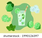 mojito in glass isolated. lime...   Shutterstock .eps vector #1990126397