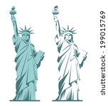 Statue of Liberty graphic illustration in two variations isolated on white - stock vector