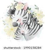 mommy and baby zebra hugging... | Shutterstock .eps vector #1990158284