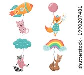 cute animals fly in balloons....   Shutterstock .eps vector #1990207481