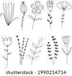 hand drawn flower vintage...   Shutterstock .eps vector #1990214714