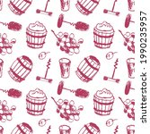 wine pattern seamless....   Shutterstock .eps vector #1990235957