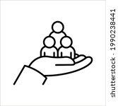 employees on human hand line...   Shutterstock .eps vector #1990238441