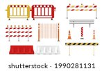 collection of road barriers...   Shutterstock .eps vector #1990281131
