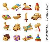 collection of children wooden...   Shutterstock .eps vector #1990281134
