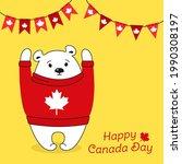 Happy Canada Day Card. Cartoon...