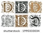 initial letters d with vintage... | Shutterstock .eps vector #1990333034
