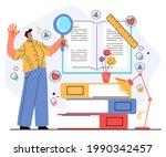 man character read open book... | Shutterstock .eps vector #1990342457