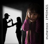 crying illtle asian girl with... | Shutterstock . vector #199034321