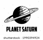 saturn planet silhouette with...   Shutterstock .eps vector #1990394924