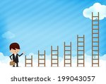business man and stair on... | Shutterstock .eps vector #199043057