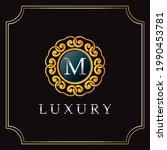 luxury manda badge m letter...   Shutterstock .eps vector #1990453781