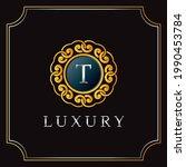 luxury manda badge t letter...   Shutterstock .eps vector #1990453784