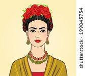 portrait of the dark haired... | Shutterstock .eps vector #199045754