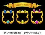 gold frame with gem  square...
