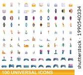 100 universal icons set.... | Shutterstock .eps vector #1990540334