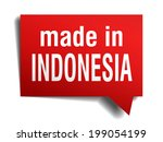 made in indonesia red  3d... | Shutterstock .eps vector #199054199