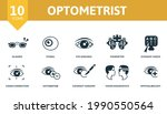 optometrist icon set. contains... | Shutterstock .eps vector #1990550564