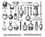 hand sketched glass equipment...   Shutterstock .eps vector #1990564241