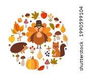 happy thanksgiving greeting... | Shutterstock .eps vector #1990599104