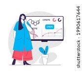 laboratory web concept. woman... | Shutterstock .eps vector #1990617644