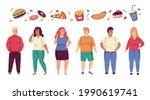 fat people. cartoon overweight...   Shutterstock .eps vector #1990619741