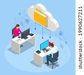 isometric cloud technology.... | Shutterstock .eps vector #1990627211