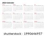 basic calendar 2022 design with ... | Shutterstock .eps vector #1990646957