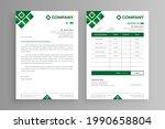 white letterhead and invoice... | Shutterstock .eps vector #1990658804
